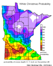 The probability of at least one inch of snow on the ground Christmas day ranges from 75 to 90 percent in Benton, Sherburne and Stearns counties, according to the Minnesota Department of Natural Resources.