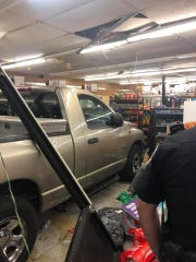 A pickup truck crashed through the front of a Circle K store in Fort Pierce late Monday.