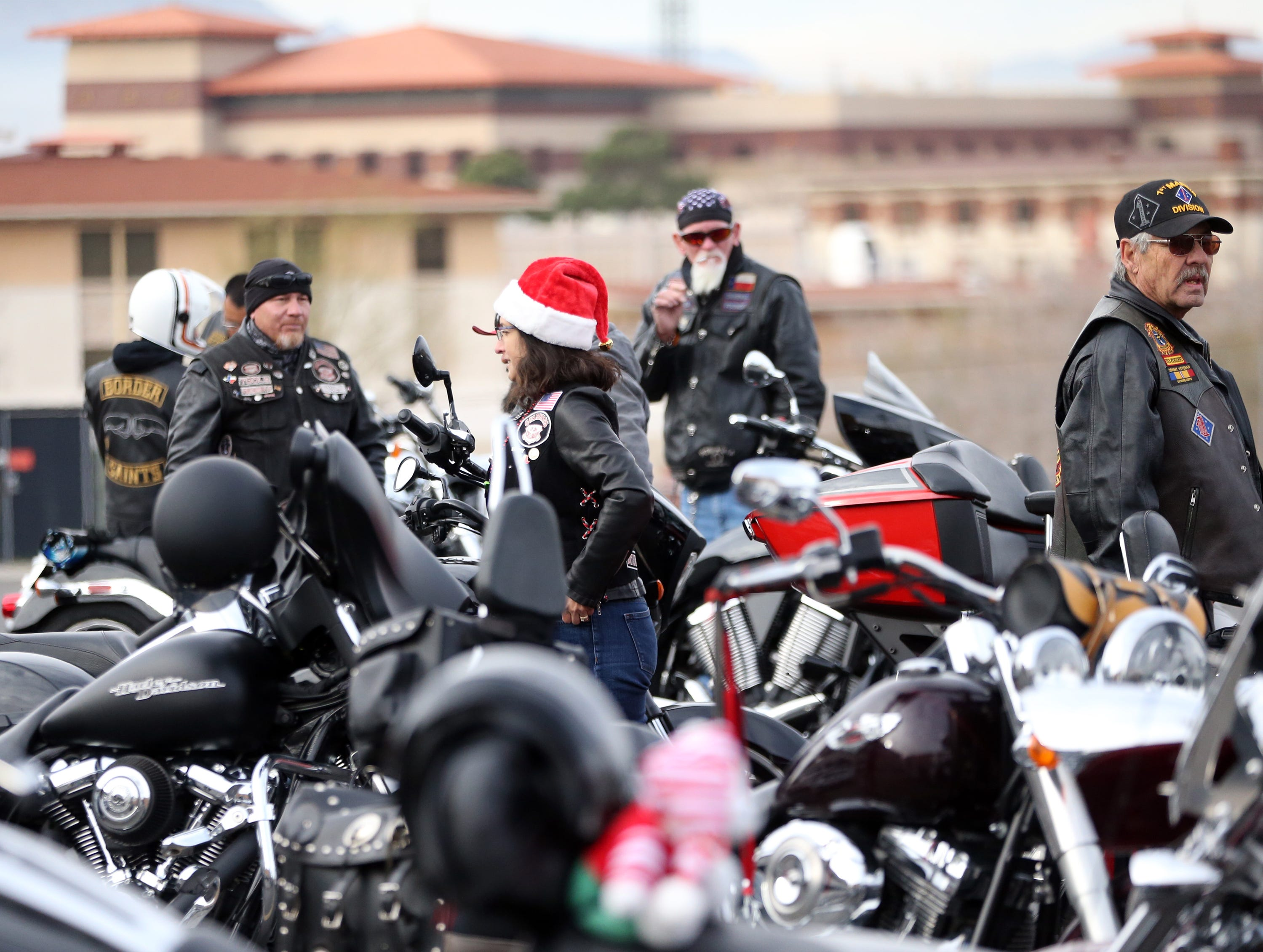 Members of the El Paso Motorcycle Coalition gather outside Providence Children's Hospital on Christmas Day Tuesday.