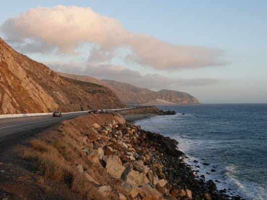 Pacific Coast Highway, just south of Mugu Rock, as seen on Christmas Eve in 2018.