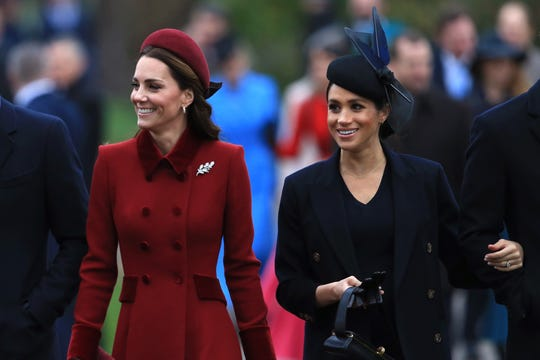 Duchess Kate and Duchess Meghan attend Christmas Day Church service at Church of St Mary Magdalene Tuesday.
