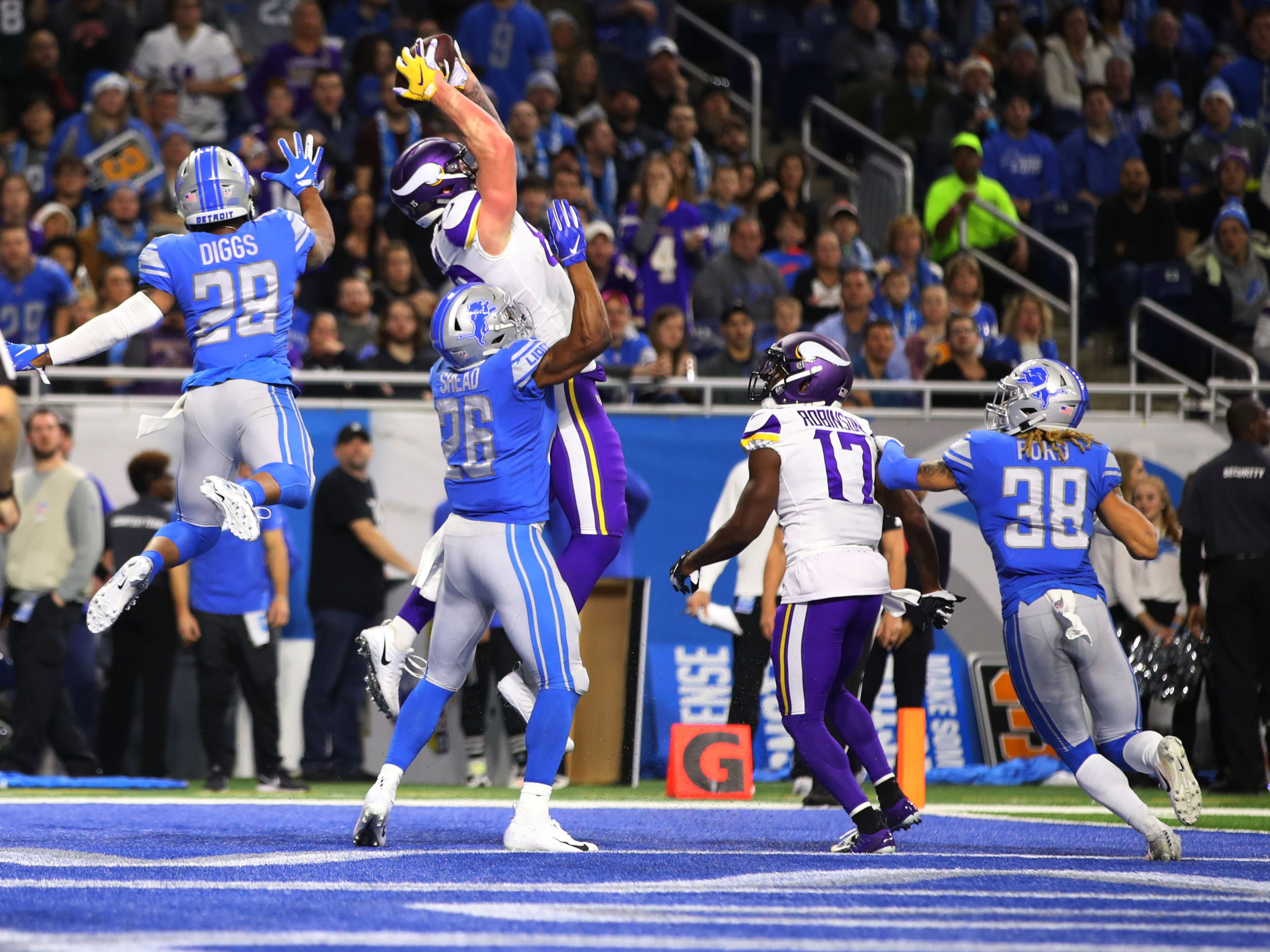 28. Lions (29): If half is almost over ... and Hail Mary is in order ... and there's massive NFC North tight end on field wearing No. 82 ... cover him with 11 defenders.