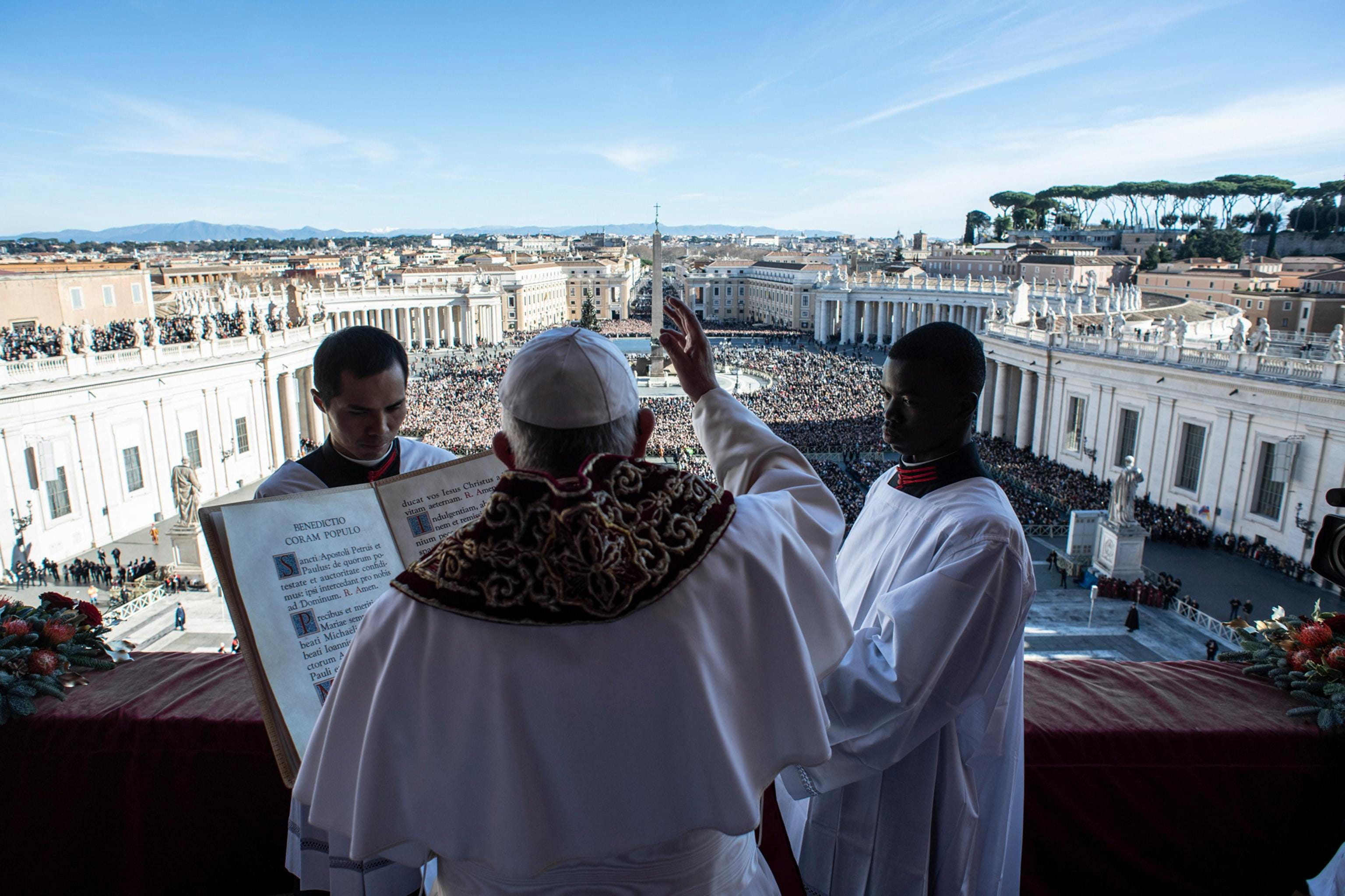 Pope Francis delivers the traditional Urbi et Orbi  Christmas Day blessing from the central balcony of St. Peter's Basilica at the Vatican on Dec. 25, 2018.