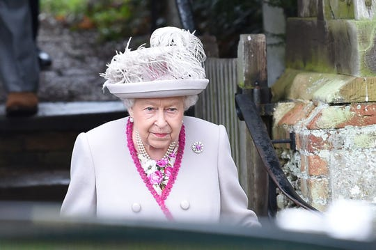 Britain's Queen Elizabeth II departs the Royal Family's traditional Christmas Day.