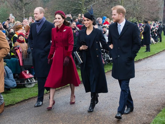 Prince William, Duchess Kate, Duchess Meghan and Prince Harry attend Christmas Day Church service at Church of St Mary Magdalene Tuesday.