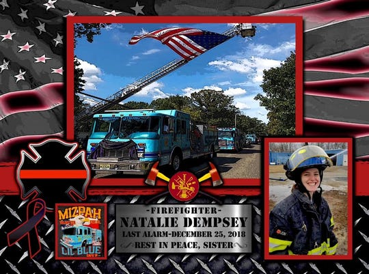 Tribute for fallen firefighter Natalie Dempsey posted on the Mizpah Volunteer Fire Company Facebook page.