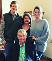 Shackelford County Judge Ross Montgomery, bottom, is surrounded by his family: son Ryan of Fort Worth, wife Martha, and daughter Amy Hardenhaussen of Grand Prairie.