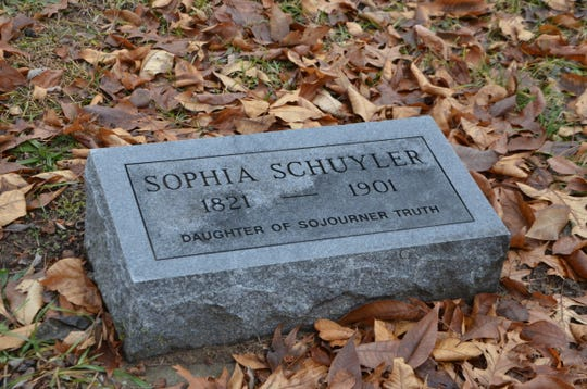 The headstone on the grave of Sophia Schuyler,  located at Harmonia Cemetery in Bedford.