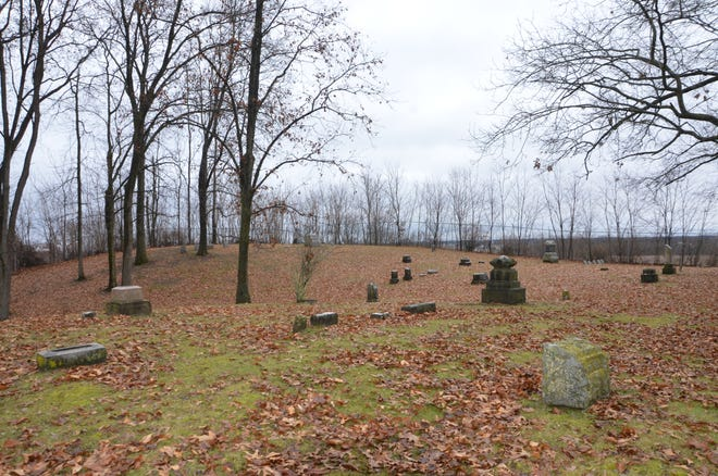 Harmonia cemetery, located in Bedford, has been vandalized over the years and is now closed to the public.