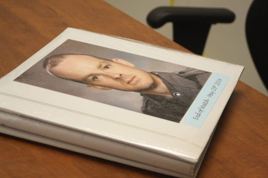 A scrapbook with memories of fallen Trooper Christopher Skinner was available for donors to view during Wednesday's memorial blood drive at the New York State Police barracks in Kirkwood.