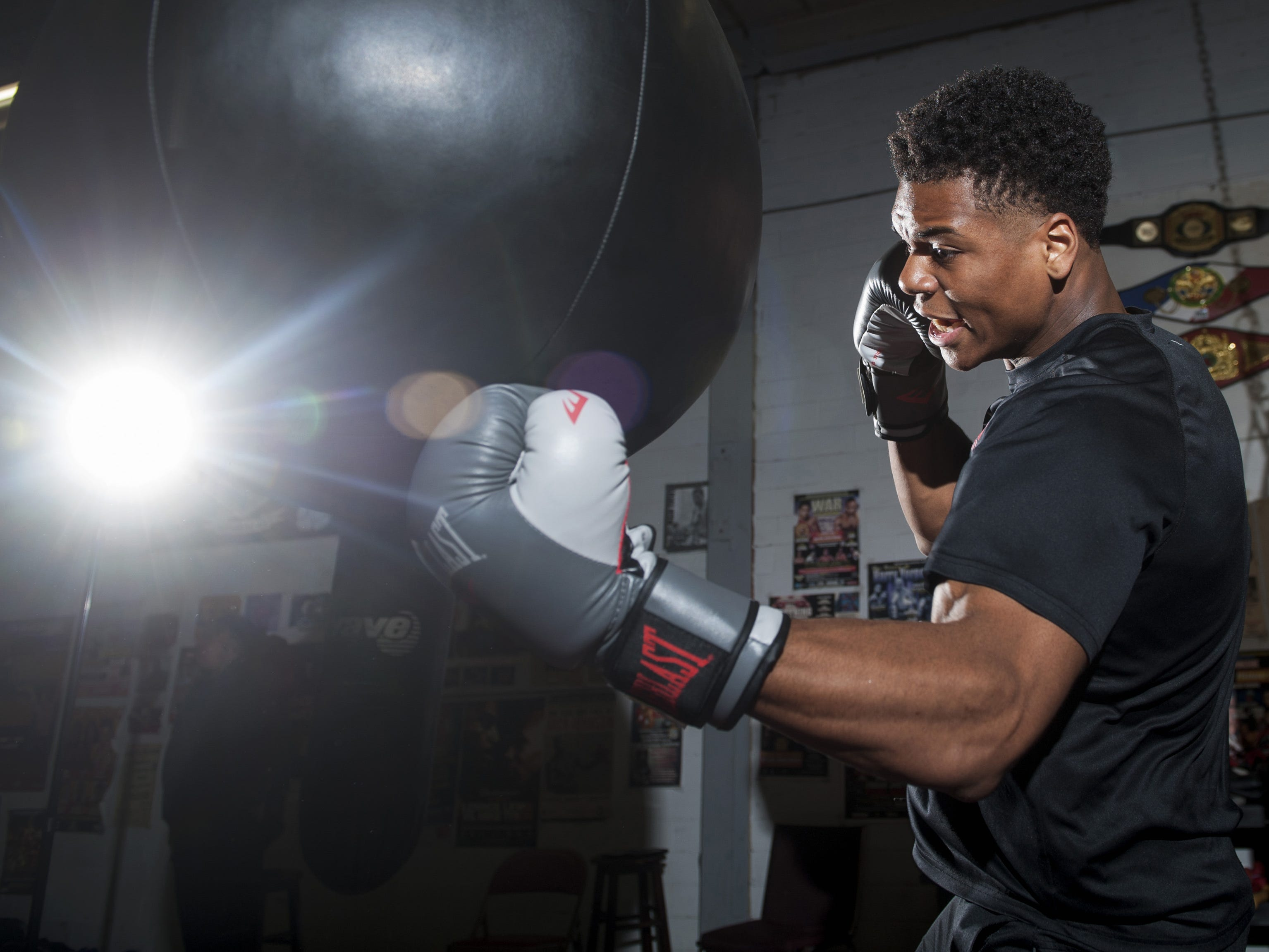 Golden Gloves champion Jamar Talley trains at the Camden Boxing Academy on May 1, 2018.