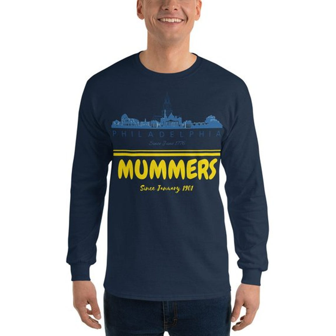 The Philadelphia Mummers long-sleeve tee is available by SpaceOdditee at Etsy.com