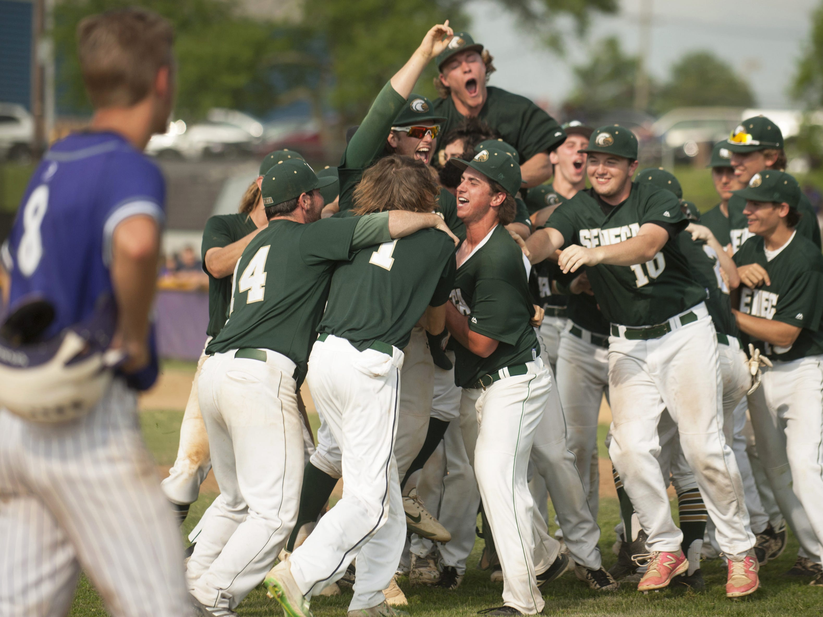 The Seneca High School baseball team celebrate after beating Cherry Hill West, 6-0, in the South Jersey Group 3 baseball final played at Cherry Hill West on Friday, June 1, 2018.