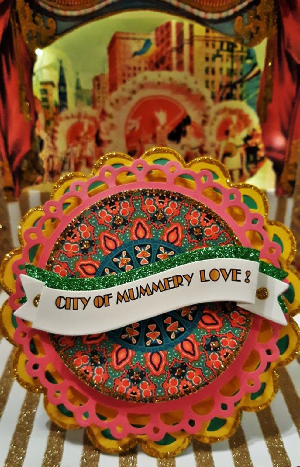 TheMummersStrut, a shop at Etsy.com, creates noisemaker/ornaments for the Mummers Parade.