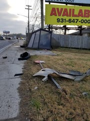 Damage to the bus stop shelter and sign on Providence Blvd. is blamed on a drunk driver.