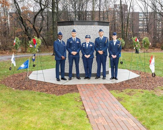 The Rutgers Air Force ROTC under the direction of Lt. Col. Danyuk participated in the Wreaths Across America Ceremony by serving as the Color Guard and laying wreaths at the grave sites with Elmwood Cemetery and the North Brunswick World War1 Committee.