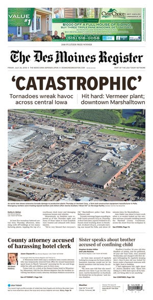 July 20: Tornadoes sprouted over central Iowa and hammered downtown Marshalltown and Vermeer's campus in Pella.