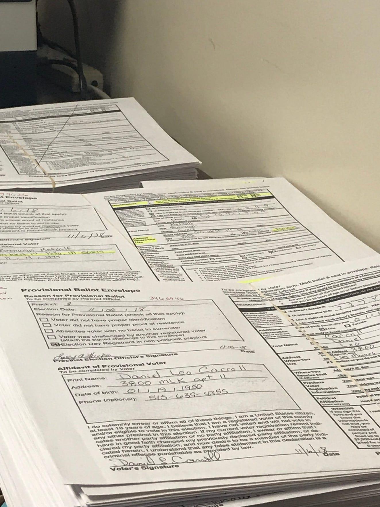 Polk County provisional ballot stacks, Nov. 13, 2018