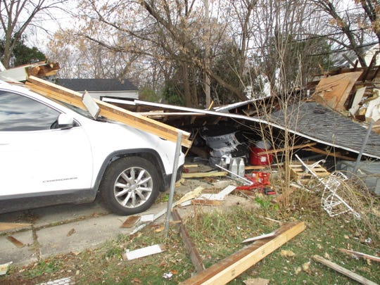 A garage on the 2700 block of Phillips Avenue in Berkley collapsed after a butane hash oil production-linked explosion on Nov. 20, 2018.