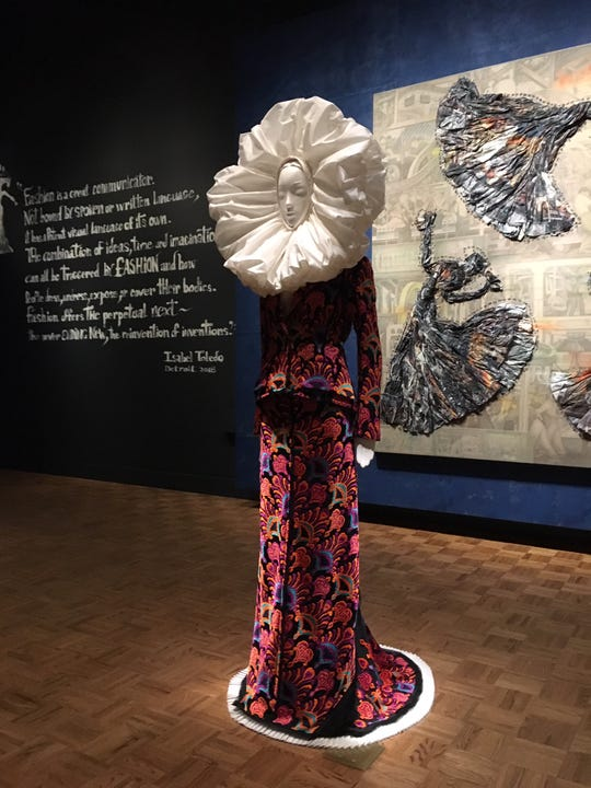"""One of Isabel Toledo's spectacularly outfitted mannequins in """"Migration"""" at the DIA."""