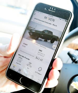 The Maven app vehicle pages show a photo, rental rates per hour or per day and the estimated cost of your specified usage.