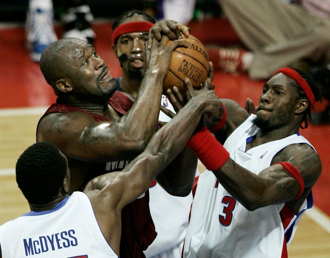 Former Piston Ben Wallace, right, was a four-time All-Star and has credentials worthy of Hall of Fame consideration.