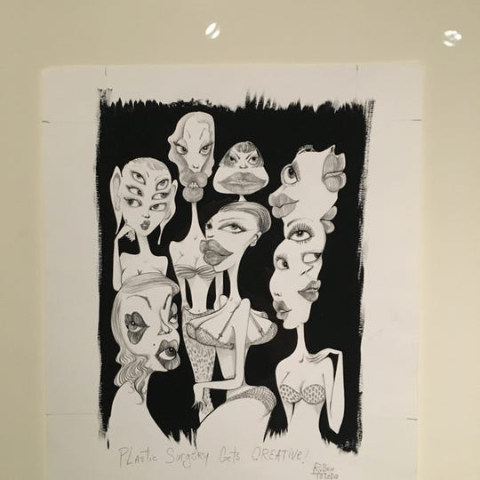 "Ruben Toledo's ""Plastic Surgery gets Creative!"" at the DIA, shown in conjunction with Diego Rivera cartoons."