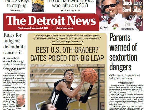The front page of The Detroit News on Wednesday, December 26, 2018.