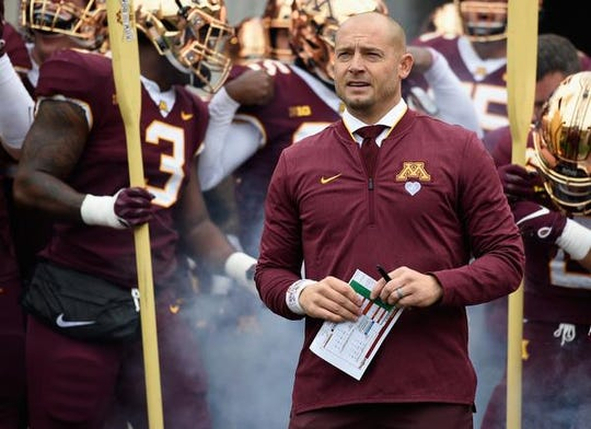 "P.J. Fleck has installed his F-A-M-I-L-Y vales: ""Forget About Me, I Love You."""