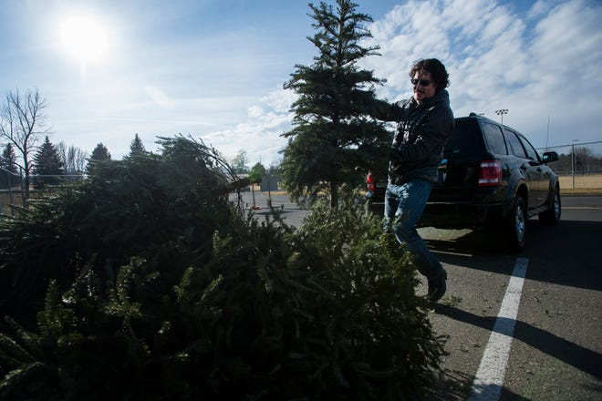 Fort Collins resident Hector de Leon tosses his family's Christmas fir tree into a pile of trees waiting to be recycled on Wednesday, Dec. 26, 2018, in the parking lot East of the baseball fields in Edora Park in Fort Collins, Colo.