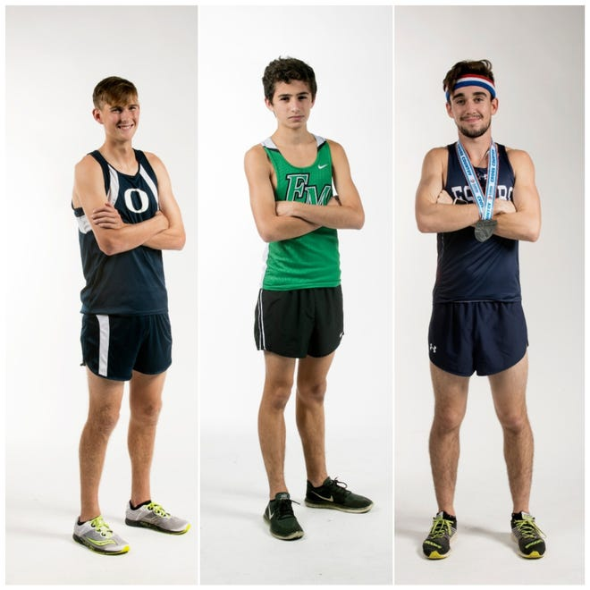 The finalists for the 2018 News-Press Boys Cross Country Runner of the Year are (from left) Preston Dunn, Liam Holston, and Hugh Brittenham.