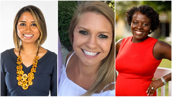 Young Professional of the Year finalists include Indera Demine, Kelly Hettenbaugh and Nadege Borgat.