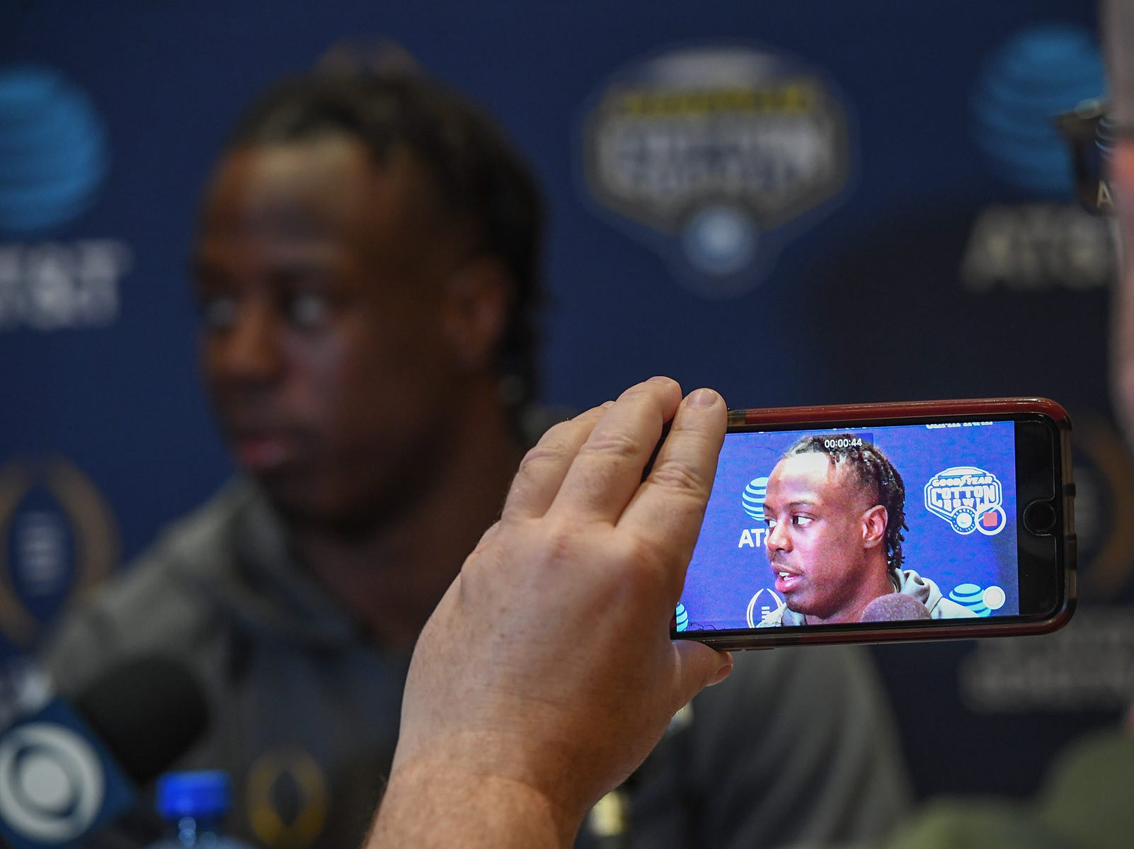 Clemson running back Travis Etienne answers questions from the media during a Cotton Bowl press conference in Dallas, TX Wednesday, December 26, 2018.