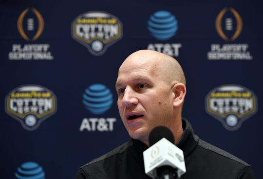 Notre Dame defensive coordinator Clark Lea answers questions from the media during a Cotton Bowl press conference in Dallas, TX Wednesday, December 26, 2018.