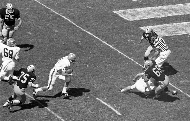 Clemson's Charley Waters (17) carries against Wake Forest Saturday, September 23, 1967 at Memorial Stadium in Clemson. The Tigers won the game 23-6.