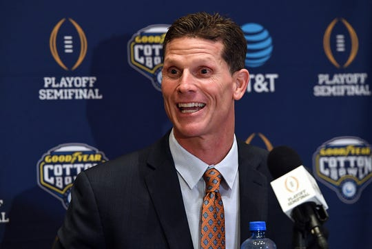 Clemson defensive coordinator Brent Venables answers questions from the media during a  Cotton Bowl press conference in Dallas, TX Wednesday, December 26, 2018.