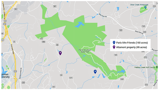More than 200 acres of undeveloped property contiguous to Paris Mountain State Park was placed under permanent protection in December 2018. Friends of Paris Mountain property will be deeded to the state park in early 2019, and the Altamont property, previously slated for a 74-home subdivision, will remain in its natural state.