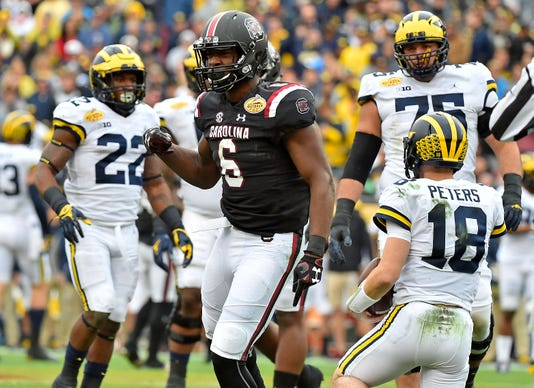 Ncaa Football Outback Bowl Michigan Vs South Carolina