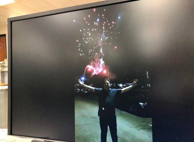 A video clip circulating on social media shows ex-GPD Col. Mark Charfauros in front of a fireworks display.