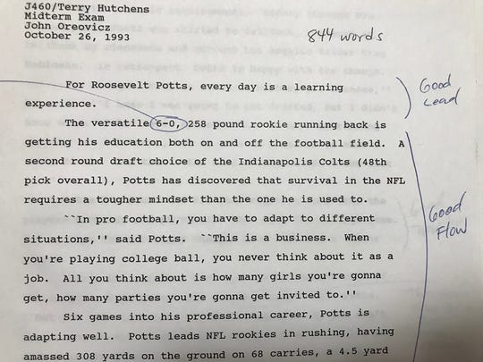 Terry Hutchens taught a sports writing  class at IUPUI in 1993. Here is a paper he marked up from student John Oreovicz.