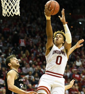 Romeo Langford leads the Hoosiers in scoring at the season's midpoint.