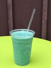 Greena Colada smoothie incorporates pineapple, kale, coconut milk, Greek yogurt, spirulina, coconut extract and raw sugar. for a taste similar to a pina colada cocktail.