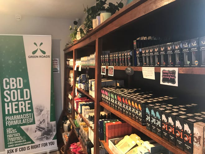 The merchandise shelves at Hub City Hemp reflect the growth in the CBD oil industry.