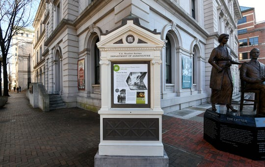 Members of the East Tennessee Historical Society believe the weather kiosk at Clinch Avenue and Market Street in downtown Knoxville is the last weather kiosk in the United States remaining at its original location, Wednesday, Dec. 26, 2018.
