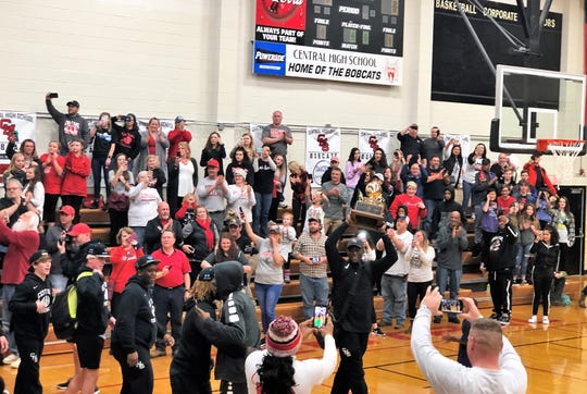 : An impromptu pep rally in the Central High School gymnasium after the football team clinched the 5A State Championship on Dec. 2, 2018.
