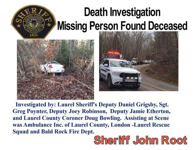 Lynda Ashley Gentry, 74, of Powell, was found dead outside her car in Laurel County, Kentucky, after being reported missing to Tennessee Authorities on Sunday, according to the Laurel County Sheriff's Office.