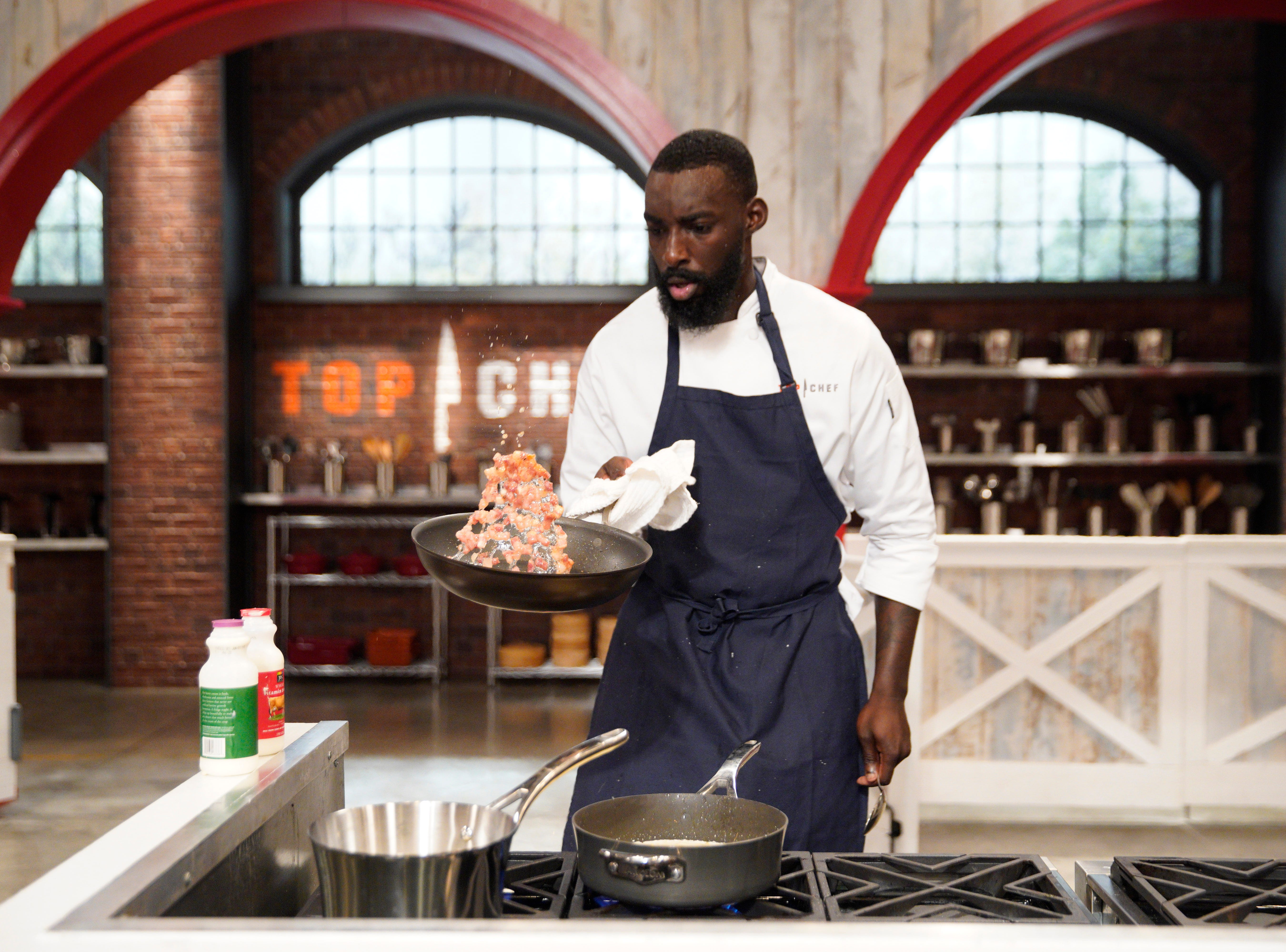 "Contestant Eric Adjepong on episode 4 of Bravo's ""Top Chef"" Kentucky."