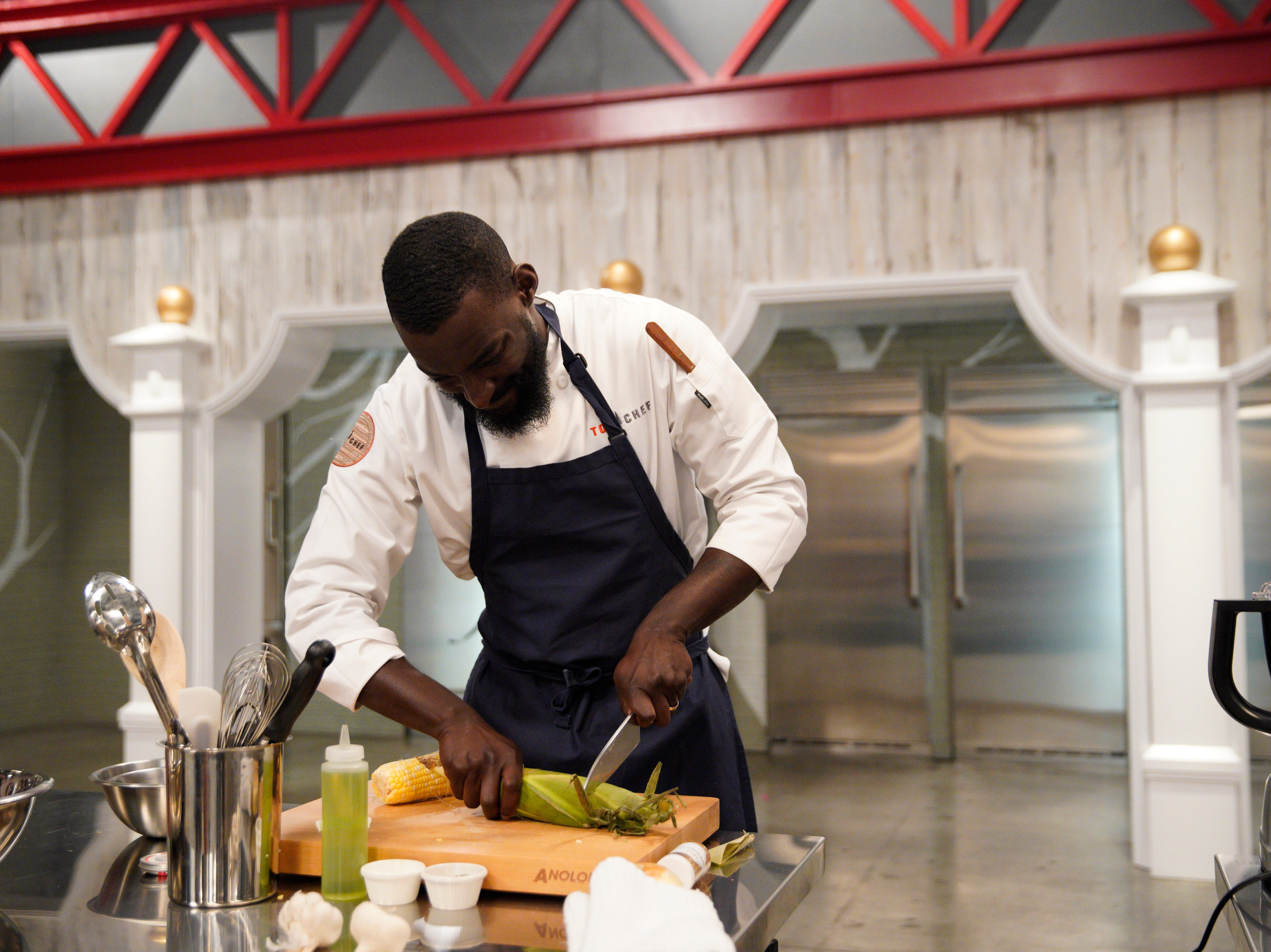 "Contestant Eric Adjepong on episode 3 of Bravo's ""Top Chef"" Kentucky."