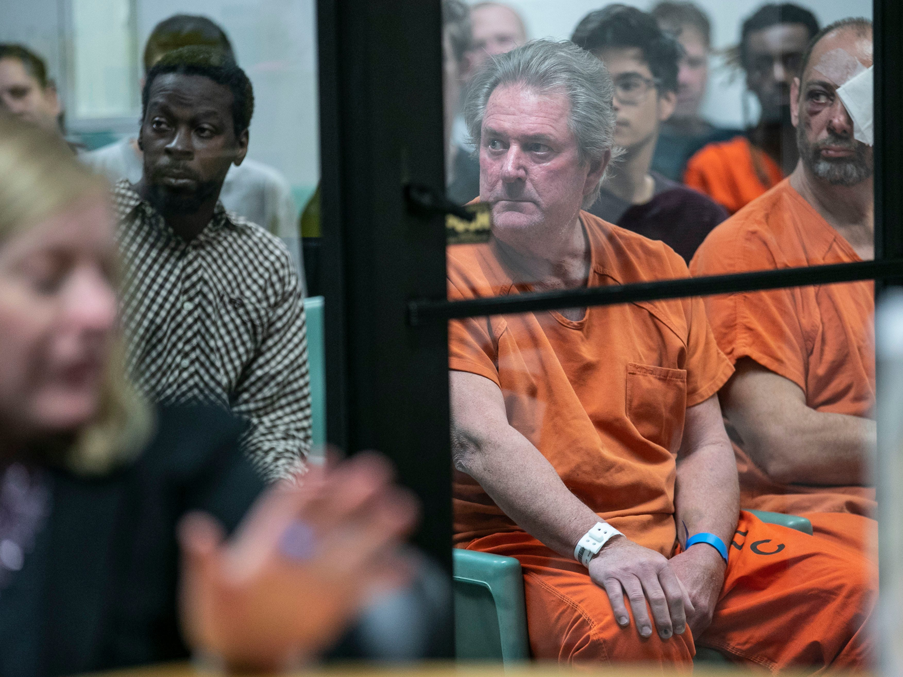"""Roger Burdette, 60, sits before arraignment at Metro Corrections Wednesday morning. A judge denied his attorney's request to lower the $200,000 bond. His next court date is set for January. Burdette is accused of killing Louisville Metro Police Detective Deidre """"Dee Dee"""" Mengedoht after ramming her stopped police car while he was driving an MSD semitruck on I-64 Christmas Eve. Dec. 26, 2018"""