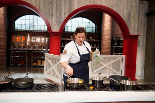 "Contestant Sara Bradley on on episode 4 of Bravo's ""Top Chef"" Kentucky."